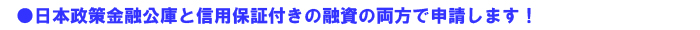 ●日本政策金融公庫と信用保証付きの融資の両方で申請します!