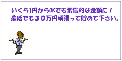 いくら1円からでOKでも常識的な金額に!最低でも30万円頑張って貯めて下さい。